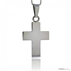 Sterling Silver Cross Pendant Highly Polished Handmade, 1 1/8 in