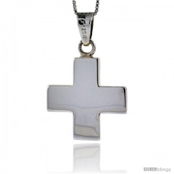 Sterling Silver Cross Pendant Highly Polished Handmade, 7/8 in -Style Px110