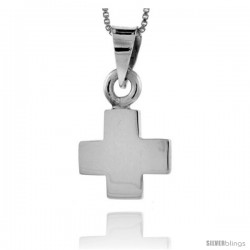 Sterling Silver Cross Pendant Highly Polished Handmade, 5/8 in