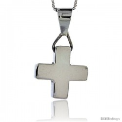 Sterling Silver Cross Pendant Highly Polished Handmade, 3/4 in