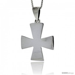Sterling Silver Maltese Cross Pendant Highly Polished Handmade, 1 in