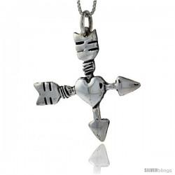 Sterling Silver Arrow Cross with Heart Pendant Handmade, 1 1/2 in