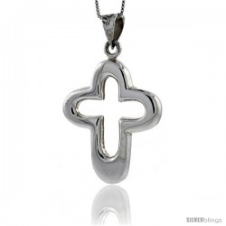 Sterling Silver Large Cut-out Cross Pendant Highly Polished Handmade, 1 3/4 in
