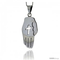 Sterling Silver Hand Pendant Handmade, with Cut-out Cross 1 3/4 in