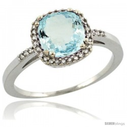 Sterling Silver Diamond Natural Aquamarine Ring 1.5 ct Checkerboard Cut Cushion Shape 7 mm, 3/8 in wide
