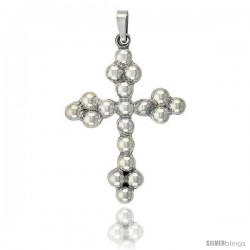 Sterling Silver Large Beaded Cross Pendant Handmade, 2 1/2 in
