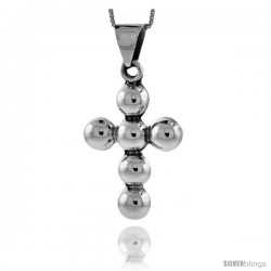 Sterling Silver Beaded Cross Pendant Handmade, 1 5/8 in