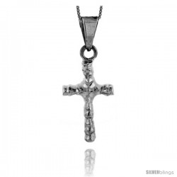 Sterling Silver Sculptured Cross Pendant Handmade, 1 3/8 in
