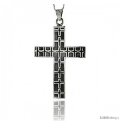 Sterling Silver Large Cross Pendant w/ Embossed Crosses Handmade, 2 1/2 in