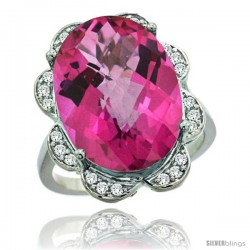 14k White Gold Natural Pink Topaz Ring 18x13 mm Oval Shape Diamond Halo, 3/4inch wide