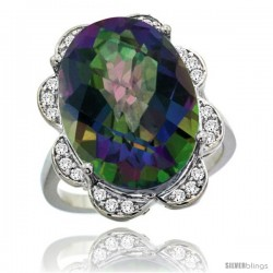 14k White Gold Natural Mystic Topaz Ring 18x13 mm Oval Shape Diamond Halo, 3/4inch wide