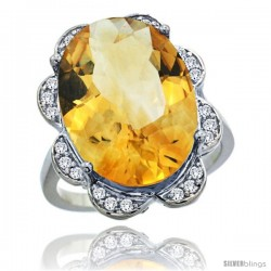 14k White Gold Natural Citrine Ring 18x13 mm Oval Shape Diamond Halo, 3/4inch wide