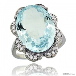 14k White Gold Natural Aquamarine Ring 18x13 mm Oval Shape Diamond Halo, 3/4inch wide