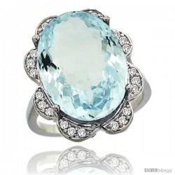 14k White Gold Natural Aquamarine Ring 18x13 mm Oval Shape Diamond Halo, 3/4inch wide
