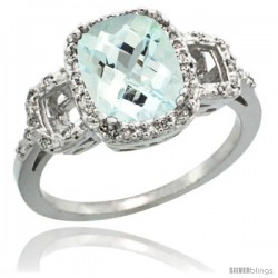 Sterling Silver Diamond Natural Aquamarine Ring 2 ct Checkerboard Cut Cushion Shape 9x7 mm, 1/2 in wide