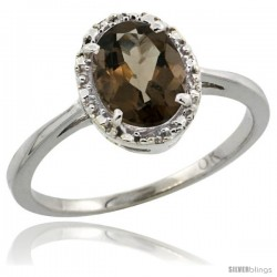 10k White Gold Diamond Halo Smoky Topaz Ring 1.2 ct Oval Stone 8x6 mm, 1/2 in wide