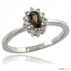 10k White Gold Diamond Halo Smoky Topaz Ring 0.25 ct Oval Stone 5x3 mm, 5/16 in wide