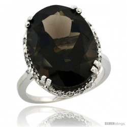 10k White Gold Diamond Halo Large Smoky Topaz Ring 10.3 ct Oval Stone 18x13 mm, 3/4 in wide