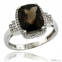 10k White Gold Diamond Halo Smoky Topaz Ring 2.4 ct Cushion Cut 9x7 mm, 1/2 in wide