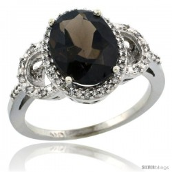 10k White Gold Diamond Halo Smoky Topaz Ring 2.4 ct Oval Stone 10x8 mm, 1/2 in wide