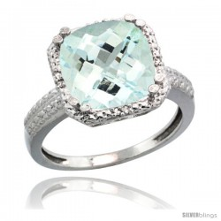 Sterling Silver Diamond Natural Aquamarine Ring 5.94 ct Checkerboard Cushion 11 mm Stone 1/2 in wide