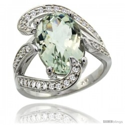 14k White Gold Natural Green Amethyst Ring Oval 14x10 Diamond Accent, 3/4 in wide