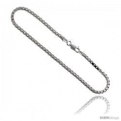 Sterling Silver Italian BOX Chain Necklaces & Bracelets Mirror Diamond Cut Finish 2.2 mm medium heavy Nickel Free