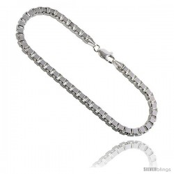 Sterling Silver Italian BOX Chain Necklaces & Bracelets 3.1mm Mirror Diamond Cut Finish heavy weight Nickel Free