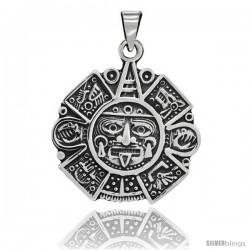 Sterling Silver Heavy Aztec Calendar Pendant, 1 3/4 in tall