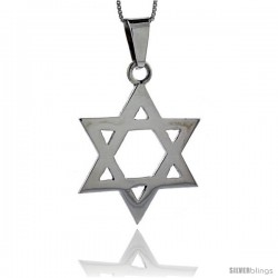 Sterling Silver Polished Star of David Pendant, 1 5/8 in tall