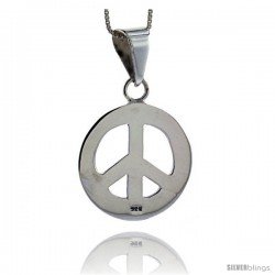 Sterling Silver Peace Sign Pendant, 1 1/16 in (27 mm)