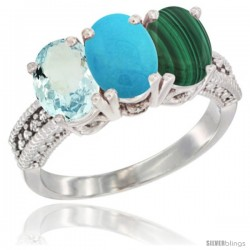 10K White Gold Natural Aquamarine, Turquoise & Malachite Ring 3-Stone Oval 7x5 mm Diamond Accent
