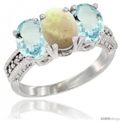 10K White Gold Natural Opal & Aquamarine Sides Ring 3-Stone Oval 7x5 mm Diamond Accent
