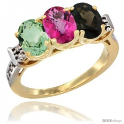 10K Yellow Gold Natural Green Amethyst, Pink Topaz & Smoky Topaz Ring 3-Stone Oval 7x5 mm Diamond Accent