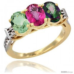 10K Yellow Gold Natural Green Amethyst, Pink Topaz & Mystic Topaz Ring 3-Stone Oval 7x5 mm Diamond Accent