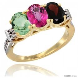 10K Yellow Gold Natural Green Amethyst, Pink Topaz & Garnet Ring 3-Stone Oval 7x5 mm Diamond Accent