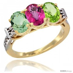 10K Yellow Gold Natural Green Amethyst, Pink Topaz & Peridot Ring 3-Stone Oval 7x5 mm Diamond Accent