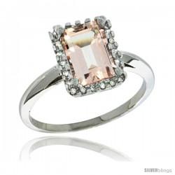 Sterling Silver Diamond Morganite Ring 1.6 ct Emerald Shape 8x6 mm, 1/2 in wide