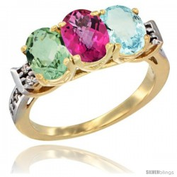 10K Yellow Gold Natural Green Amethyst, Pink Topaz & Aquamarine Ring 3-Stone Oval 7x5 mm Diamond Accent