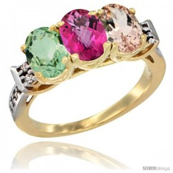 10K Yellow Gold Natural Green Amethyst, Pink Topaz & Morganite Ring 3-Stone Oval 7x5 mm Diamond Accent