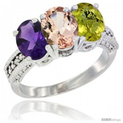 14K White Gold Natural Amethyst, Morganite & Lemon Quartz Ring 3-Stone 7x5 mm Oval Diamond Accent