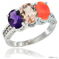 14K White Gold Natural Amethyst, Morganite & Coral Ring 3-Stone 7x5 mm Oval Diamond Accent