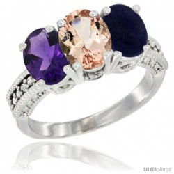 14K White Gold Natural Amethyst, Morganite & Lapis Ring 3-Stone 7x5 mm Oval Diamond Accent
