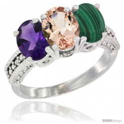 14K White Gold Natural Amethyst, Morganite & Malachite Ring 3-Stone 7x5 mm Oval Diamond Accent