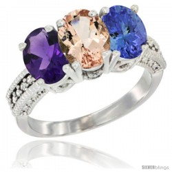 14K White Gold Natural Amethyst, Morganite & Tanzanite Ring 3-Stone 7x5 mm Oval Diamond Accent