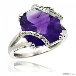 14k White Gold Diamond Amethyst Ring 7.5 ct Cushion Cut 12 mm Stone, 1/2 in wide -Style Cw401135