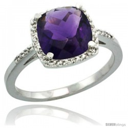 14k White Gold Diamond Amethyst Ring 2.08 ct Cushion cut 8 mm Stone 1/2 in wide