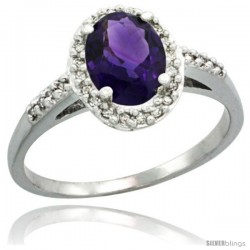 14k White Gold Diamond Amethyst Ring Oval Stone 8x6 mm 1.17 ct 3/8 in wide