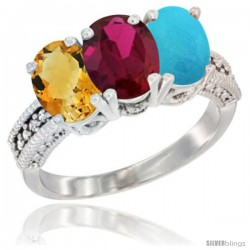14K White Gold Natural Citrine, Ruby & Turquoise Ring 3-Stone 7x5 mm Oval Diamond Accent