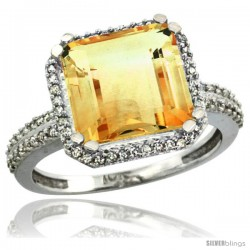 14k White Gold Diamond Halo Citrine Ring Checkerboard Cushion 11 mm 5.85 ct 1/2 in wide